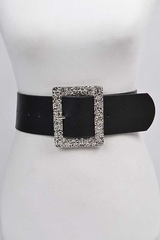 Silver Glitter Rectangle Belt - Kloset Kemistry