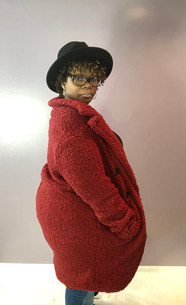 Double Breasted Faux Fur Teddy Coat - Kloset Kemistry