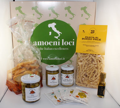 cooking box with italian pasta, broad bean pate and  broad beans in extra vergin olive oil