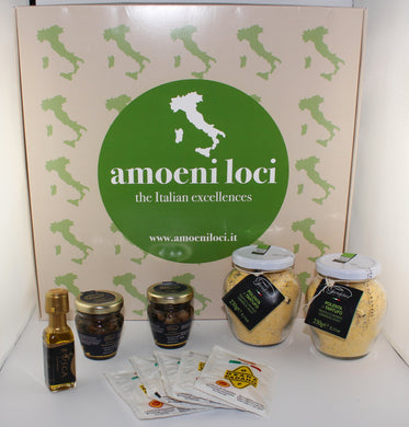 cooking box with polenta flavoured with truffle and summer truffle slices in oil