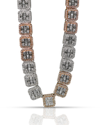 Two Tone Baguette 24.50ct Diamond Chain 10K Gold