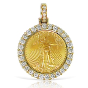 24K Gold Liberty Coin 0.90ct Diamonds