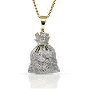 Money Bag 0.78ct Diamonds 10k Gold with Chain