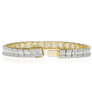 Three Row 10k Yellow Gold Round and Baguette 7.35ct Diamond Bracelet