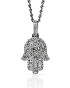 Baguette 1.90ct Diamond 10k White Gold Hamsa Pendant with Chain