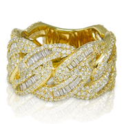 Cuban Link 10K Gold 3.15ct Diamonds Ring
