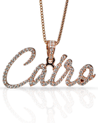 Rose Gold Custom Name Diamond Pendant with Gold Chain
