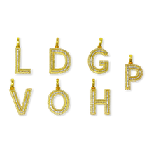 Load image into Gallery viewer, Baguette Diamond 10K Gold Letters with Chain