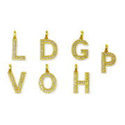 Baguette Diamond 10K Gold Letters with Chain