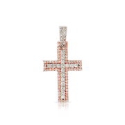 Rose Gold 10k 2 Step Cross 1.00ct Diamonds