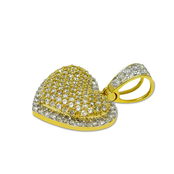 Load image into Gallery viewer, Ladies 2 Step Heart Puff 1.35ct Diamonds 10k Gold with Chain