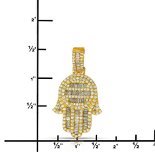 Load image into Gallery viewer, Baguette Hamsa Hand 2.35ct Diamonds 10K Gold with Chain
