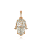 Baguette 1.90ct Diamond 10k Rose Gold Hamsa Pendant with Chain