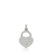 Love Heart Lock 1.30ct Diamonds 10K White Gold with Chain