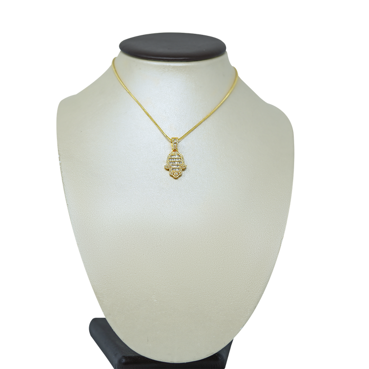 Load image into Gallery viewer, Baguette Hamsa Hand Pendant 1.10ct Diamonds 10k Yellow Gold with Chain