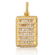 Yellow Gold 1.65ct Diamond Baguette Block with Chain