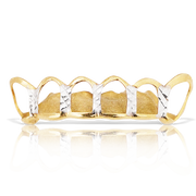 Custom Open Face Diamond Cut Yellow Gold Grill
