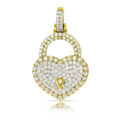 Love Heart Lock 1.30ct Diamonds 10K Yellow Gold