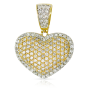 Ladies 2 Step Heart Puff 1.35ct Diamonds 10k Gold with Chain