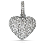 Ladies Heart Puff 1.00ct Diamond 10k White Gold with Chain