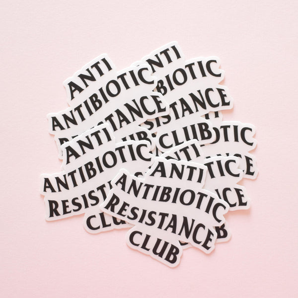 Anti antibiotic resistance club | transparent vinyl science sticker (biology)