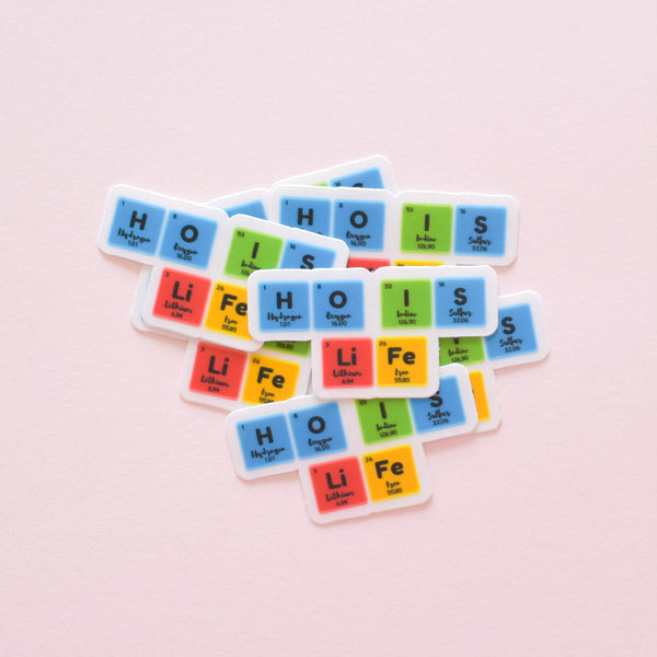 Hydrogen Oxygen Iodine Sulfur Lithium Iron periodic table | vinyl science sticker (chemistry)