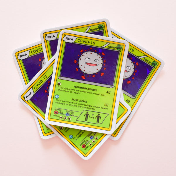 COVID-19 virus Pokemon card | glitter holo science sticker (STEM)