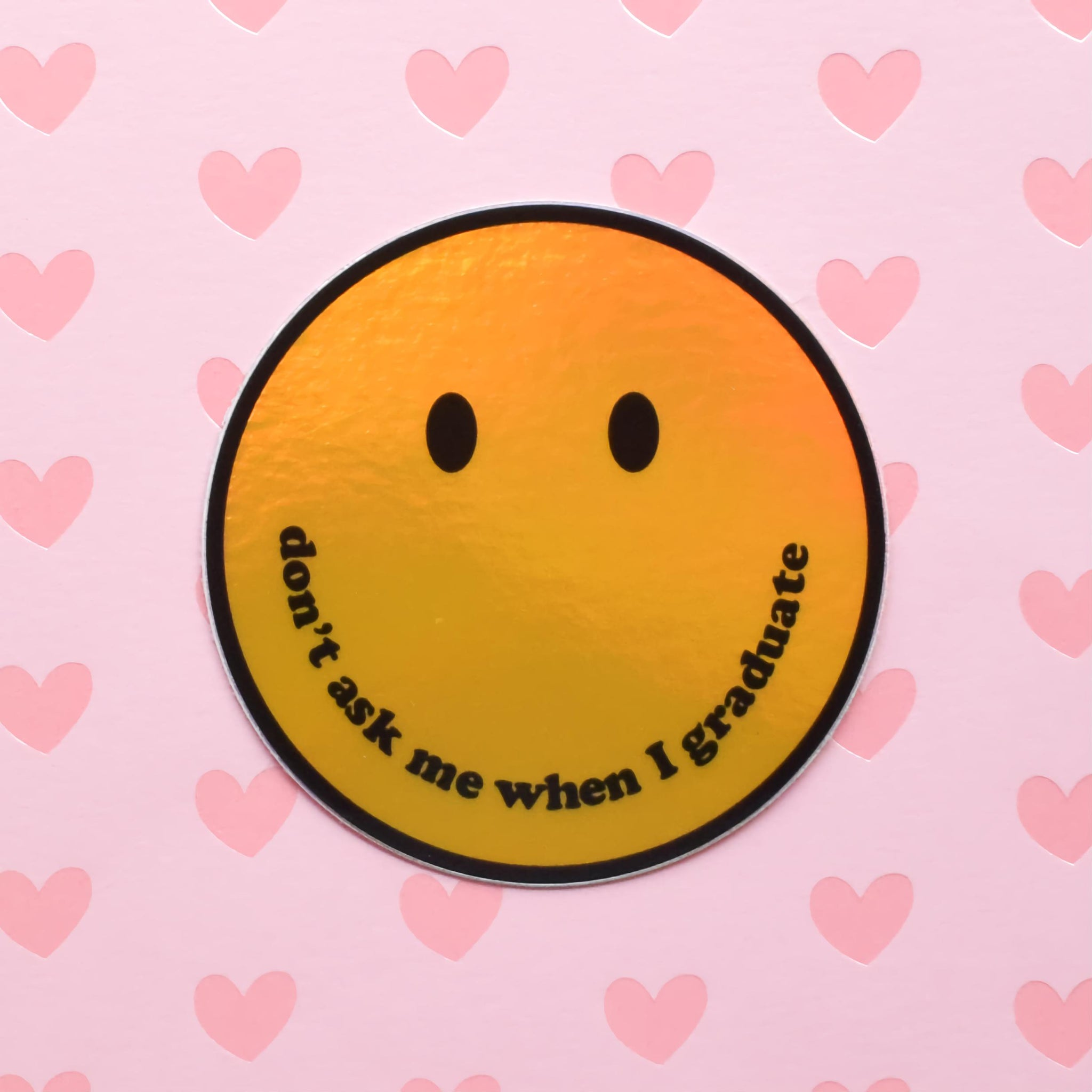 Graduate smiley | holo science sticker (STEM)