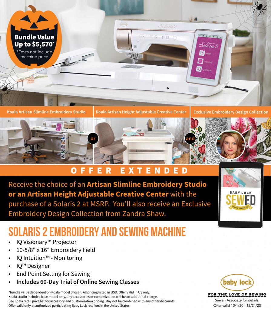 Baby Lock Solaris 2 Sewing, Quilting & Embroidery Machine + Koala Studios Offer