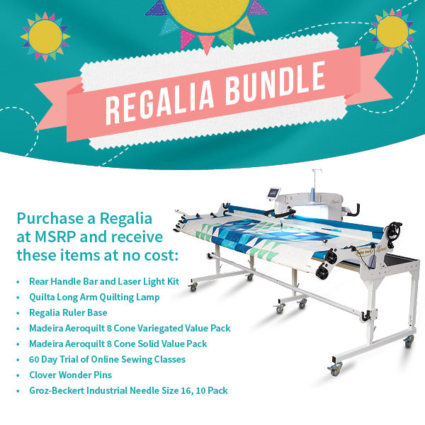 Baby Lock's July - August Bundle Promo for Regalia Long Arm Quilting Machine