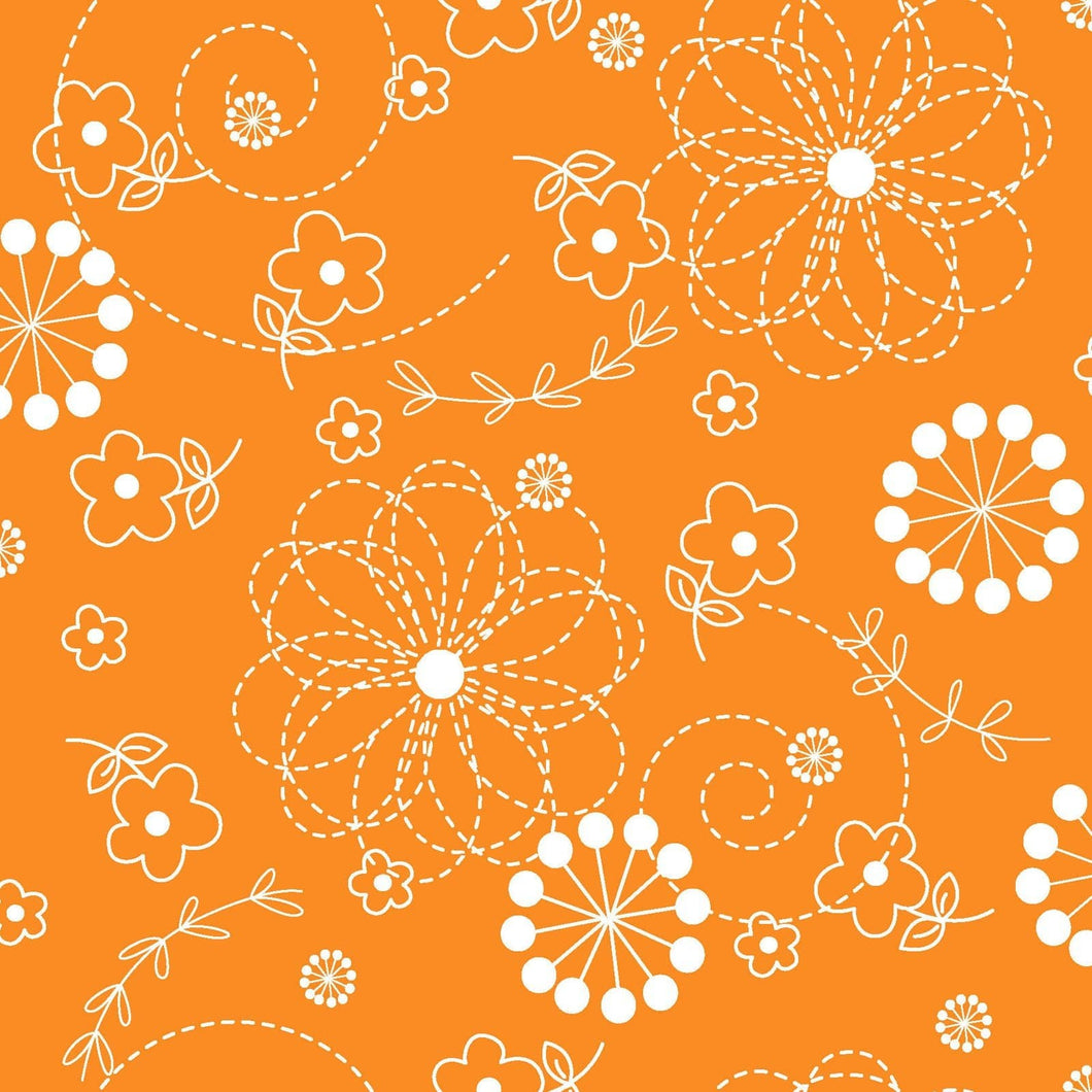 Kimberbell Fabric: Orange, Floral