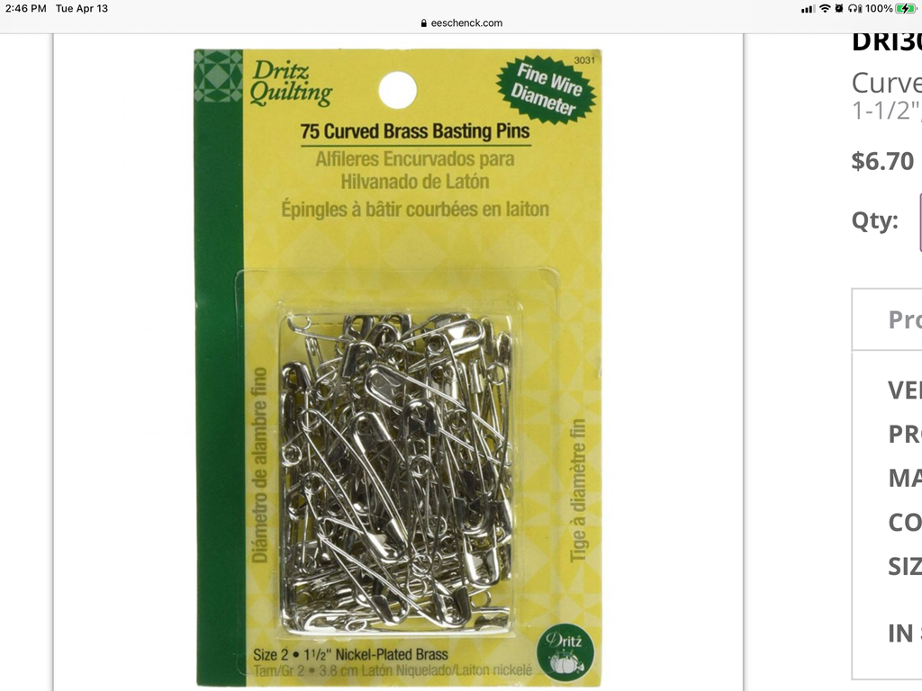 Dritz Curved Brass Basting Pins 75 pc (DRI3031) - Myers Sewing