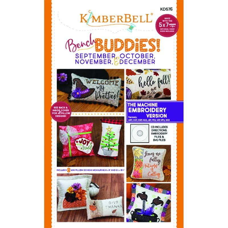 Kimberbell, Bench Buddies! (September, October, November, And December) Machine Embroidery CD (KD576) - Myers Sewing