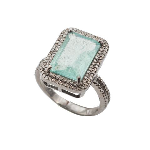Aquamarine Green Ring