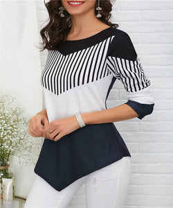 Camisa Asymmetric Hem Color Block Camiseta