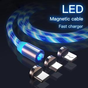LED brillante magnético 3 en 1 cable de carga USB