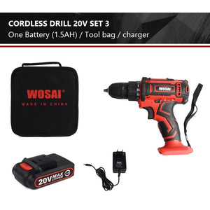 WOSAI New 20V Cordless Drill Electric Screwdriver Mini Wireless Power Driver DC Lithium-Ion Battery 3/8-Inch 2 Speed 4.8