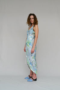 LOUNGE. PARTY  ARTIST  DRESS  WRAP  PROVOKE  HAND PAINTED  VISCOSE  END OF RUN  RAW BIAS EDGING  BIAS CUT  COMFORTABLE  SUMMER  ROMANCE, DESIGNER, NICOLA WEST, W35T, CAPE TOWN, SOUTH AFRICA