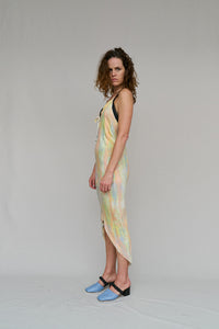 HALTER, SPRING, PAINT, POISE, DRESS, BIAS CUT, VISCOSE, HAND PAINTED, SUNSET, ADJUSTABLE, SEXY, LOW BACK, SLOPING FRONT TO BACK, HAND PAINTED, CAPE TOWN, SOUTH AFRICA, DESIGNER, NICOLA WEST, W35T, HAND PAINTED