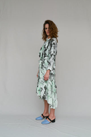 W35T BY NICOLA WEST, SLOPING FRONT TO BACK,  HAND PAINTED,  END OF RUN,  COMFORTABLE,  ADJUSTABLE,  ARTIST,  BIAS CUT,  DRESS,  END OF RUN FABRIC,  FREESTYLE,  FUN,  INDIVIDUAL,  LOUNGE,  RAW BIAS EDGING,  ROMANCE,  VISCOSE,  WINTER,  SPRING,  SUMMER, W35T, NICOLA WEST, CAPE TOWN, SOUTH AFRICA