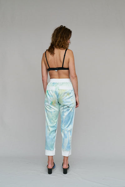 SUNSET, PANTS, LOUNGE, KICK BACK, HAND PAINTED, GOOD SPORT, END OF RUN, ELASTICATED, DRAWSTRING WAIST, COOL, ARTIST, ADJUSTABLE, COMFORTABLE, DETAIL, DAY TO NIGHT, PAINT, NICOLA WEST, RAINBOW LIT SKY, POET, SPORT, W35T, VISCOSE, WEST, SPRING, ROMANCE, TUTSI, NICOLA WEST, W35T, CAPE TOWN, SOUTH AFRICA, DESIGNER
