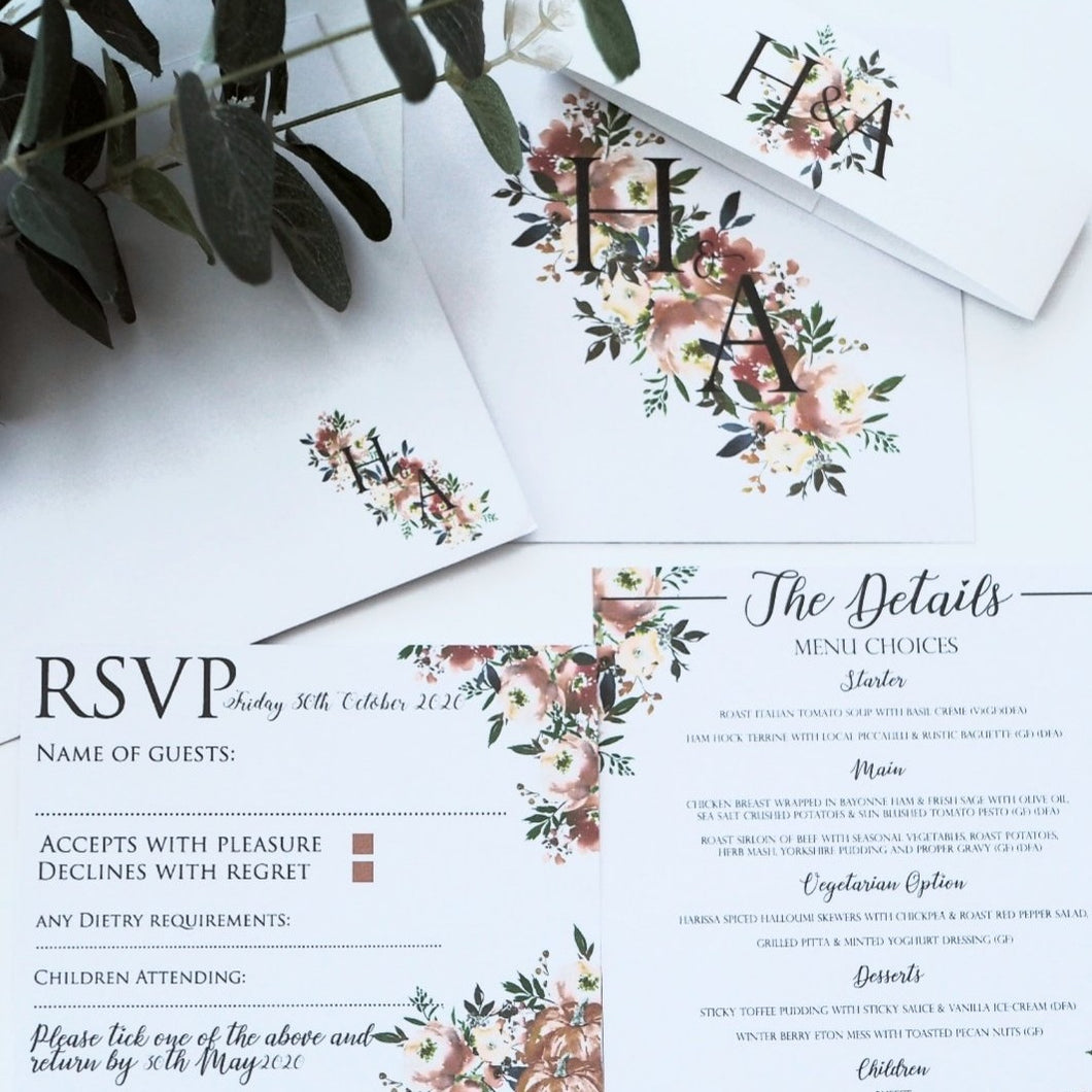 Autumn Flowers Invitation Collection