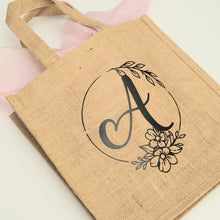 Load image into Gallery viewer, Custom Monogram Jute Bag