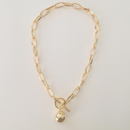Gold Oval Link Chain Necklace with Ball Pendant - Kimberley's Store