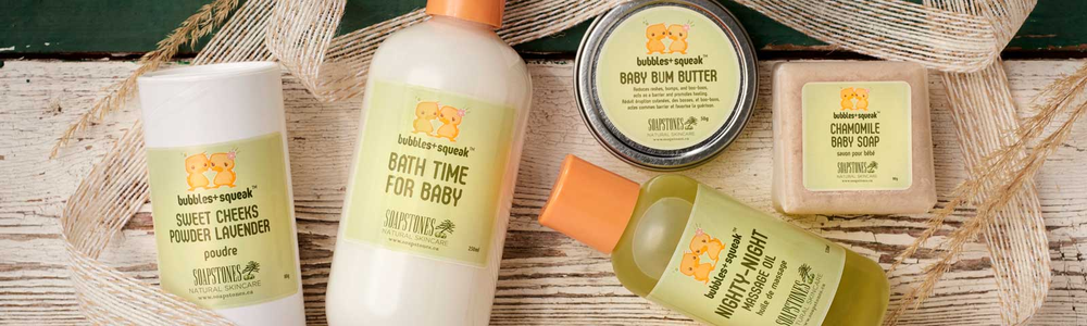 Bubbles & Squeak our line of baby soaps and lotions