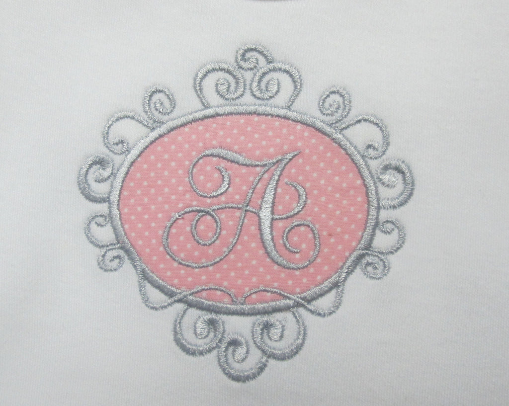Baby Girl Applique Frame with Initial Set | Smarty Pants