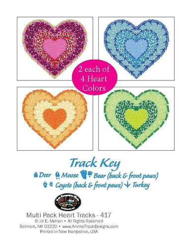 8 Assorted Color Heart Note Card Cello - Animal Track Designs