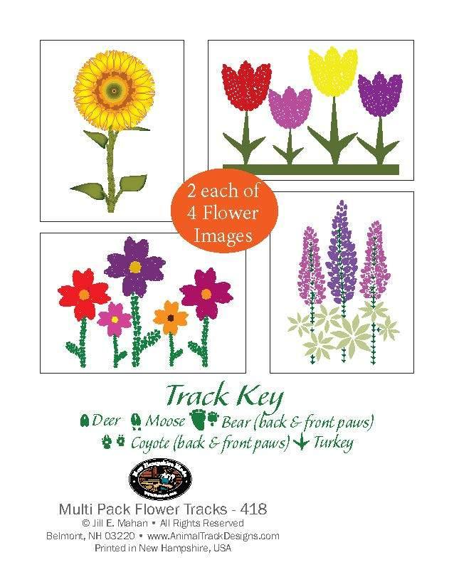 8 Assorted Flowers Note Card Box - Animal Track Designs