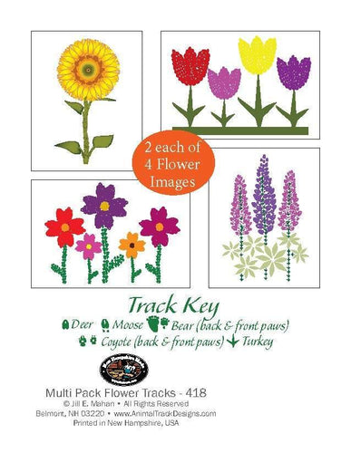 8 Assorted Flowers Note Card Cello Pack - Animal Track Designs