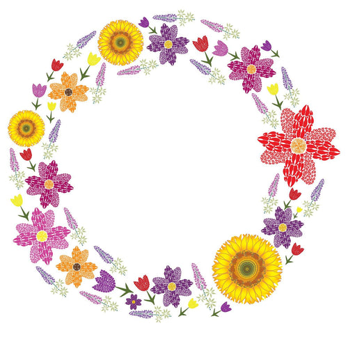 8 Flower Wreath Note Card Cello Pack - Animal Track Designs